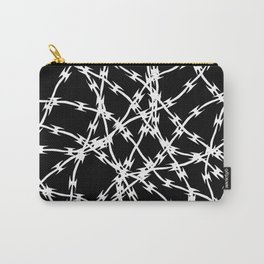 Trapped White on Black Carry-All Pouch