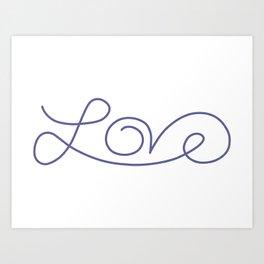 Love calligraphy print - Smokey purple Art Print