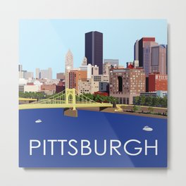 Fun Computer Illustration of Downtown Pittsburgh Skyline, Bridges, and Allegheny River Metal Print