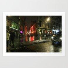 Snowing in London Art Print