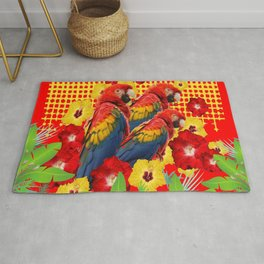 GREEN TROPICAL YELLOW MACAWS & RED YELLOW HIBISCUS Rug