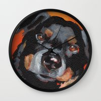 rottweiler Wall Clocks featuring Rottweiler by Stanley Arts