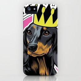 Black and tan female dachshund head iPhone Case