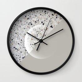 Minimal Terrazzo Moon on warm grey #minimalart Wall Clock
