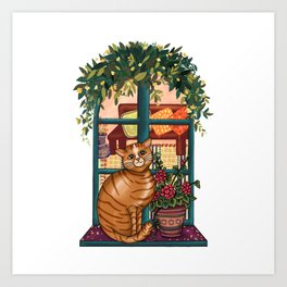 Ginger Cat at the Window Art Print