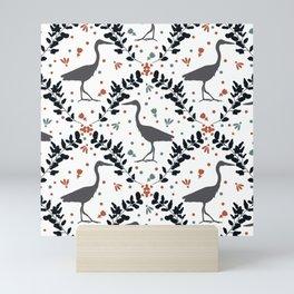 Damask Heron // Sage and Rust // Bird Seamless Pattern // Eucalyptus and Gray Birds Mini Art Print