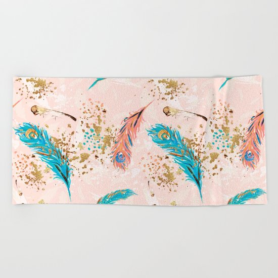 Feather peacock peach mint #5 Beach Towel