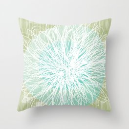Doodle Flowers in Mint by Friztin Throw Pillow