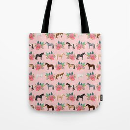 Horse Floral - florals, pink, flower, florals, bloom, horses, cowgirl, bedding, decor, cute Tote Bag