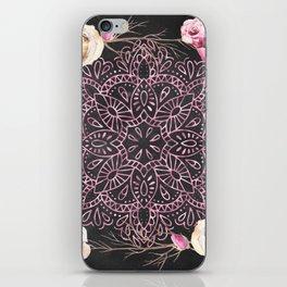 Mandala Night Rose Gold Garden Pink Black Yellow iPhone Skin
