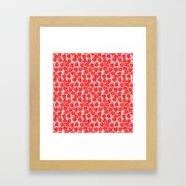 Big Monstera Tropical Leaf Hawaii Rain Forest Red on White Framed Art Print