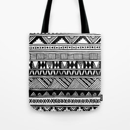 Black White Cute Girly Urban Tribal Aztec Andes Abstract Geometric Hand-drawn Pattern Tote Bag