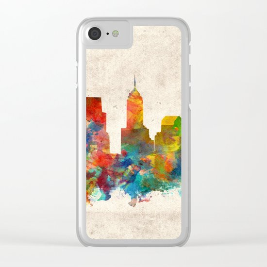 indianapolis city skyline watercolor 3 Clear iPhone Case
