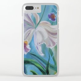 White Jungle Orchid Clear iPhone Case