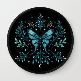 Mystical Luna Moth - Turquoise Wall Clock