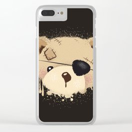 cute bear with eyepatch Clear iPhone Case