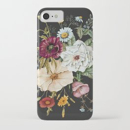 Colorful Wildflower Bouquet on Charcoal Black iPhone Case