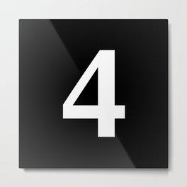 4 (WHITE & BLACK NUMBERS) Metal Print
