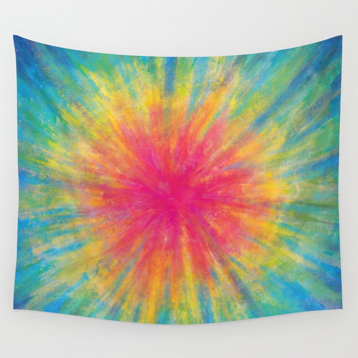Tie Dye Rainbow Vibrant Saturated Painting Drawing Coloring Wall Tapestry  by aej_design