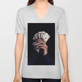 cards poker win Unisex V-Neck