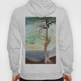 Lonely Cedar Tree Landscape Painting Hoody