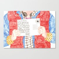 postcard Canvas Prints featuring Postcard by cristina zavala