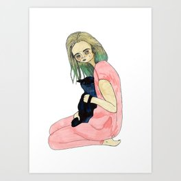 Girl with Astral Goat Art Print