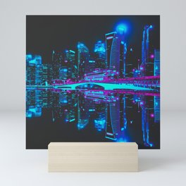 Future Skyline Cyberpunk City Mini Art Print