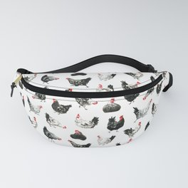 Black & White Chickens Fanny Pack