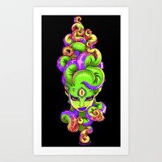 Tentacle Demoness (GREEN version) Art Print