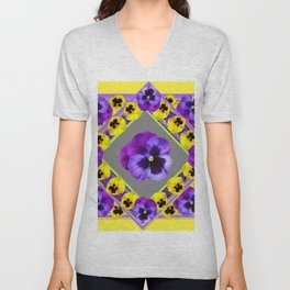 GEOMETRIC  PURPLE & YELLOW  PANSIES ON BUTTER YELLOW Unisex V-Neck