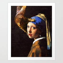 Girl with the pearl earring squirrel photo bomb Art Print