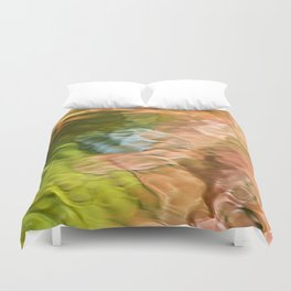 Salmon Mosaic Abstract Art Duvet Cover