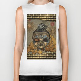 Steampunk, awesome steampunk skull with steampunk rat Biker Tank
