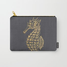 Gold seahorse on grey pinstripe Carry-All Pouch