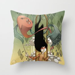 playing with ghosts Throw Pillow