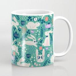Don't Be Late Bunnies - Aqua Coffee Mug