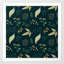 Yellow Leaves On Dark Green Crayon Drawing, Colorful Autumn Pattern Art Print