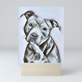 Pit Bull lover, a portrait of a beautiful pit bull puppy Mini Art Print