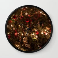 christmas tree Wall Clocks featuring Christmas tree. by Assiyam