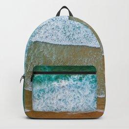 Ocean Waves Crushing On Beach, Drone Photography, Aerial Photo, Ocean And Beach Wall Art Print Decor Backpack