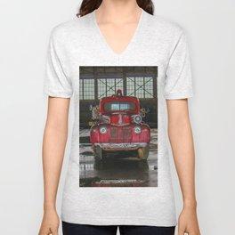 Vintage Firetruck Unisex V-Neck