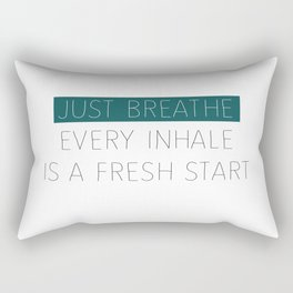 Just Breathe - Teal Typography Rectangular Pillow