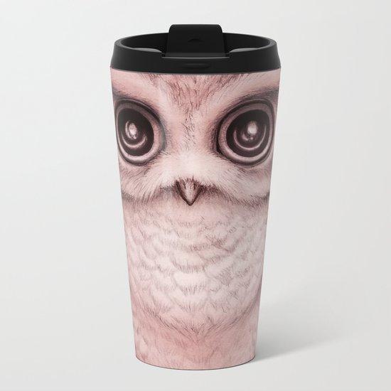 """The Little Owl"" by Amber Marine ~ (Peach Fuzz Version) Graphite & Ink Illustration, (c) 2016 Metal Travel Mug"