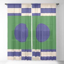 GEOMETRY BLUE&GREEN V Sheer Curtain