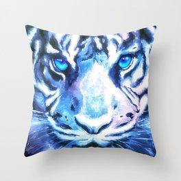 White Tiger | Snow Tiger | Tiger Face | Space Tiger Throw Pillow