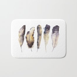 Mystical Assortment Of Feathers Watercolor Painting Delicate Patterns Grey Neutral Brown Tones Bath Mat