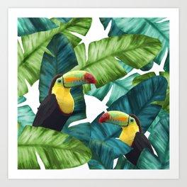 Toucans Tropical Banana Leaves Pattern Art Print