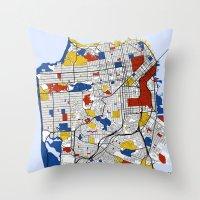 san francisco Throw Pillows featuring San Francisco by Mondrian Maps