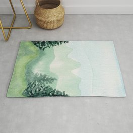 Watercolor forest mountainscape Rug